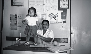 """Reyna Luisa Olmedo Vasquez, the nurse for the clinic in Paso de Coyutla. At health clinics like this one in rural Mexico, poor people are paid to bring in their children for checkups."""