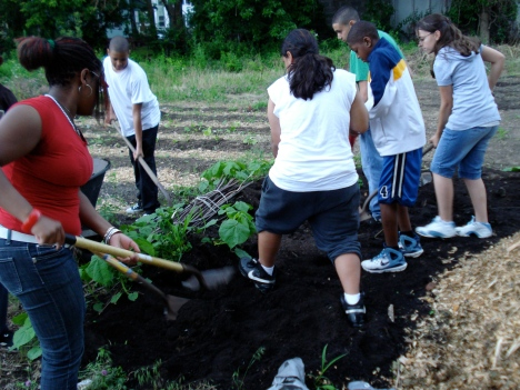 Participants load a wheelbarrow with compost, which they will use to plant corn and squash