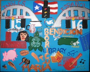 "María Luisa's visual representation of her poem, ""I grew up in the North End, and Island."" Click on picture to enlarge."